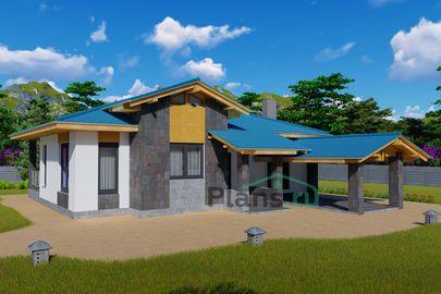 Проект одноэтажного дома 13x11 метров, общей площадью 97 м2, из газобетона (пеноблоков), c террасой, котельной и кухней-столовой