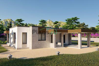 Проект одноэтажного дома 13x11 метров, общей площадью 97 м2, из кирпича, c террасой, котельной и кухней-столовой