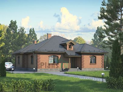 Проект одноэтажного дома 13x13 метров, общей площадью 128 м2, из газобетона (пеноблоков), c кухней-столовой