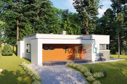 Проект одноэтажного дома 13x14 метров, общей площадью 107 м2, из газобетона (пеноблоков), c террасой, котельной и кухней-столовой