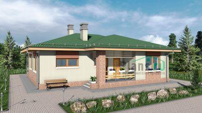 Проект одноэтажного дома 13x14 метров, общей площадью 113 м2, из кирпича, c террасой и котельной