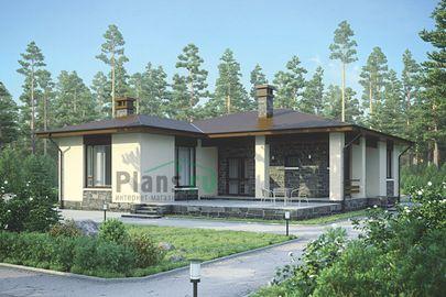 Проект одноэтажного дома 13x15 метров, общей площадью 120 м2, из керамических блоков, c террасой и котельной