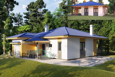 Проект одноэтажного дома 13x15 метров, общей площадью 130 м2, из газобетона (пеноблоков), c гаражом, террасой, котельной и кухней-столовой