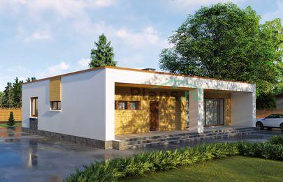 Проект одноэтажного дома 13x15 метров, общей площадью 140 м2, из газобетона (пеноблоков), c террасой, котельной и кухней-столовой