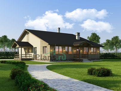 Проект одноэтажного дома 13x18 метров, общей площадью 146 м2, из кирпича, со вторым светом, c зимним садом, террасой, котельной и кухней-столовой