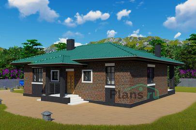 Проект одноэтажного дома 13x9 метров, общей площадью 100 м2, из кирпича, c террасой, котельной и кухней-столовой