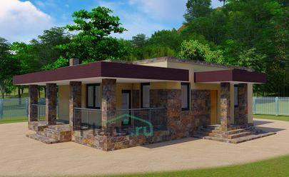 Проект одноэтажного дома 13x9 метров, общей площадью 78 м2, из газобетона (пеноблоков), c террасой и кухней-столовой