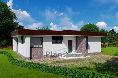 Проект одноэтажного дома 14x10 метров, общей площадью 100 м2, из газобетона (пеноблоков), c террасой, котельной и кухней-столовой