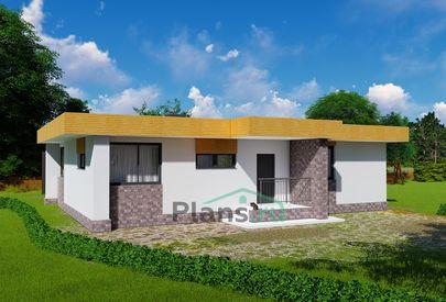 Проект одноэтажного дома 14x10 метров, общей площадью 100 м2, из кирпича, c террасой, котельной и кухней-столовой