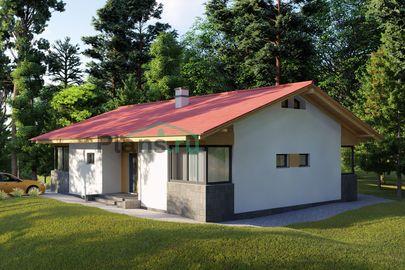 Проект одноэтажного дома 14x10 метров, общей площадью 113 м2, из газобетона (пеноблоков), c террасой, котельной и кухней-столовой