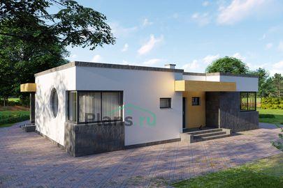Проект одноэтажного дома 14x10 метров, общей площадью 113 м2, из кирпича, c террасой, котельной и кухней-столовой
