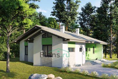Проект одноэтажного дома 14x10 метров, общей площадью 92 м2, из газобетона (пеноблоков), c террасой, котельной и кухней-столовой