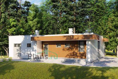 Проект одноэтажного дома 14x10 метров, общей площадью 92 м2, из кирпича, c террасой, котельной и кухней-столовой