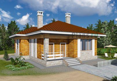 Проект одноэтажного дома 14x12 метров, общей площадью 105 м2, из газобетона (пеноблоков), c террасой, котельной и кухней-столовой