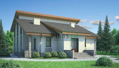 Проект одноэтажного дома 14x12 метров, общей площадью 113 м2, из кирпича, c котельной и кухней-столовой
