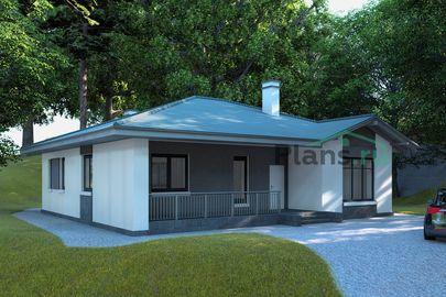 Проект одноэтажного дома 14x12 метров, общей площадью 124 м2, из газобетона (пеноблоков), c террасой, котельной и кухней-столовой