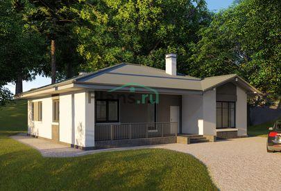 Проект одноэтажного дома 14x12 метров, общей площадью 124 м2, из кирпича, c террасой, котельной и кухней-столовой