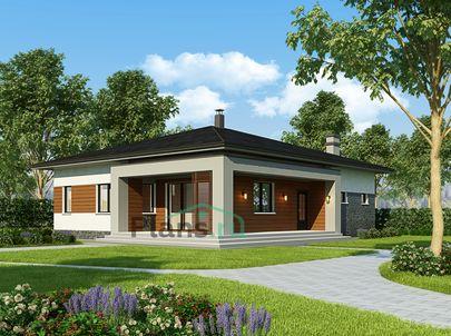 Проект одноэтажного дома 14x12 метров, общей площадью 132 м2, из газобетона (пеноблоков), c террасой, котельной и кухней-столовой