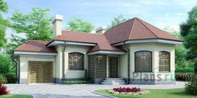 Проект одноэтажного дома 14x13 метров, общей площадью 115 м2, из керамических блоков, c гаражом и котельной