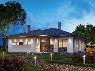 Проект одноэтажного дома 14x14 метров, общей площадью 143 м2, из кирпича, c террасой, котельной и кухней-столовой
