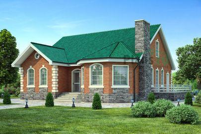 Проект одноэтажного дома 14x14 метров, общей площадью 169 м2, из газобетона (пеноблоков), c террасой и котельной