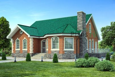 Проект одноэтажного дома 14x14 метров, общей площадью 169 м2, из керамических блоков, c террасой и котельной