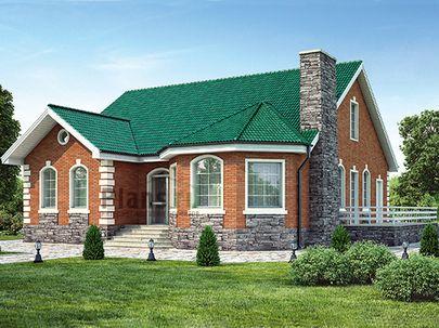 Проект одноэтажного дома 14x14 метров, общей площадью 169 м2, из кирпича, c террасой, котельной и кухней-столовой
