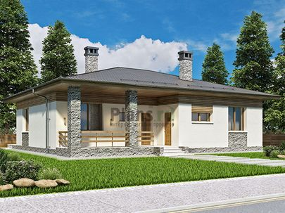 Проект одноэтажного дома 14x15 метров, общей площадью 118 м2, из кирпича, c террасой, котельной и кухней-столовой