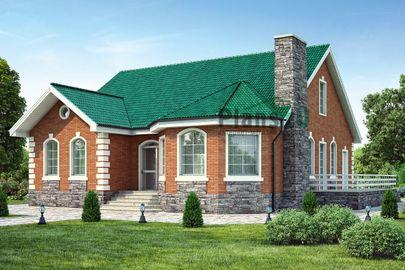 Проект одноэтажного дома 14x15 метров, общей площадью 157 м2, из керамических блоков, c террасой и котельной