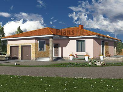 Проект одноэтажного дома 14x16 метров, общей площадью 158 м2, из керамических блоков, c гаражом, террасой, котельной и кухней-столовой