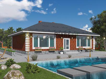 Проект одноэтажного дома 15x10 метров, общей площадью 105 м2, из газобетона (пеноблоков), c котельной и кухней-столовой