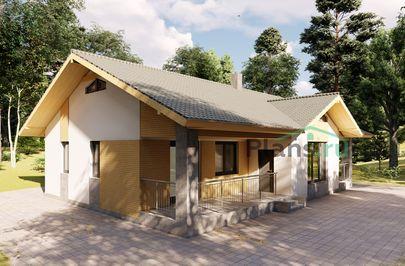 Проект одноэтажного дома 15x11 метров, общей площадью 113 м2, из газобетона (пеноблоков), c террасой, котельной и кухней-столовой