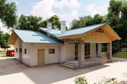 Проект одноэтажного дома 15x11 метров, общей площадью 120 м2, из газобетона (пеноблоков), c гаражом, террасой, котельной и кухней-столовой