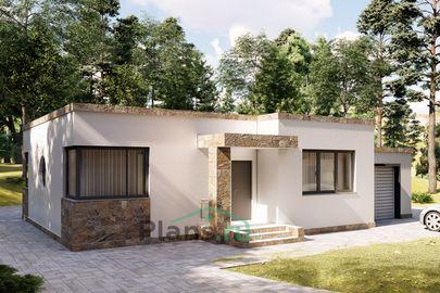 Проект одноэтажного дома 15x11 метров, общей площадью 120 м2, из керамических блоков, c гаражом, террасой, котельной и кухней-столовой