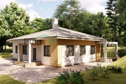 Проект одноэтажного дома 15x11 метров, общей площадью 134 м2, из газобетона (пеноблоков), c террасой, котельной и кухней-столовой