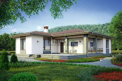 Проект одноэтажного дома 15x13 метров, общей площадью 112 м2, из кирпича, c террасой