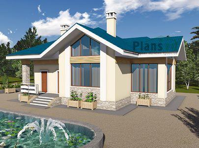 Проект одноэтажного дома 15x13 метров, общей площадью 121 м2, из газобетона (пеноблоков), c террасой, котельной и кухней-столовой