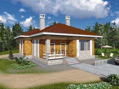 Проект одноэтажного дома 15x13 метров, общей площадью 121 м2, из керамических блоков, c террасой, котельной и кухней-столовой