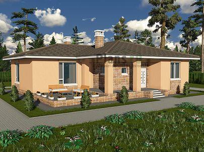 Проект одноэтажного дома 15x13 метров, общей площадью 127 м2, из керамических блоков, c террасой, котельной и кухней-столовой