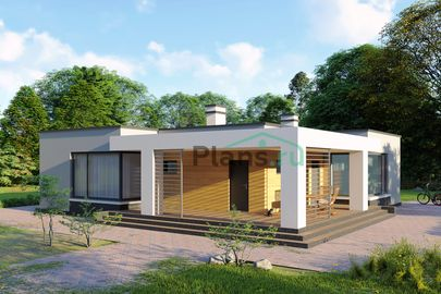 Проект одноэтажного дома 15x14 метров, общей площадью 130 м2, из газобетона (пеноблоков), c террасой, котельной и кухней-столовой