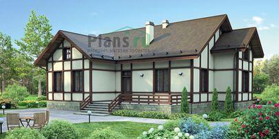 Проект одноэтажного дома 15x15 метров, общей площадью 121 м2, из кирпича, c террасой и котельной