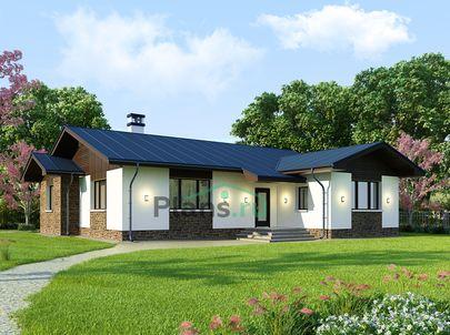 Проект одноэтажного дома 15x15 метров, общей площадью 144 м2, из кирпича, c котельной и кухней-столовой