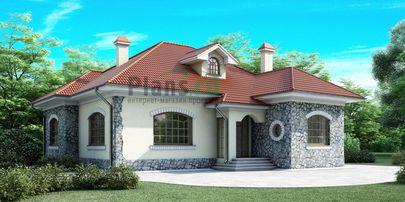 Проект одноэтажного дома 15x15 метров, общей площадью 145 м2, из кирпича, c котельной и кухней-столовой