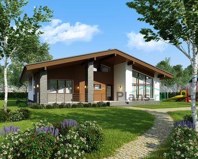 Проект одноэтажного дома 15x15 метров, общей площадью 155 м2, из керамических блоков, c террасой, котельной и кухней-столовой