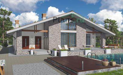 Проект одноэтажного дома 15x18 метров, общей площадью 151 м2, из керамических блоков, c террасой, котельной и кухней-столовой