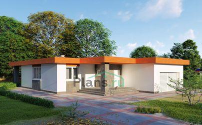 Проект одноэтажного дома 15x21 метров, общей площадью 190 м2, из газобетона (пеноблоков), c гаражом, террасой, котельной и кухней-столовой
