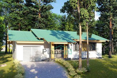 Проект одноэтажного дома 15x8 метров, общей площадью 105 м2, из газобетона (пеноблоков), c гаражом, котельной и кухней-столовой