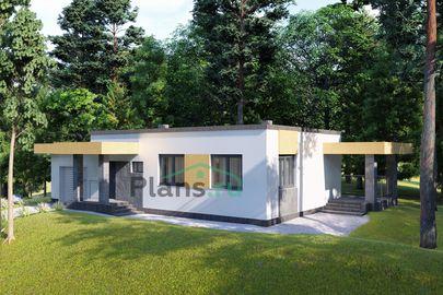Проект одноэтажного дома 15x8 метров, общей площадью 105 м2, из газобетона (пеноблоков), c гаражом, террасой, котельной и кухней-столовой