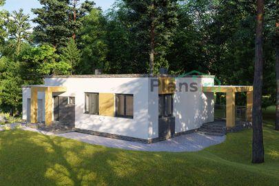 Проект одноэтажного дома 15x8 метров, общей площадью 105 м2, из кирпича, c гаражом, террасой, котельной и кухней-столовой