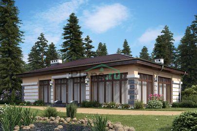 Проект одноэтажного дома 15x9 метров, общей площадью 106 м2, из газобетона (пеноблоков), c котельной и кухней-столовой